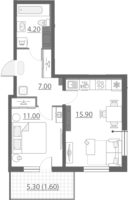 2-к.кв (евро), 43.43 м²