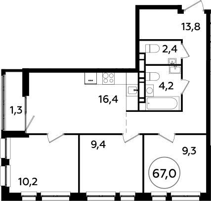 4Е-к.кв, 67 м², 20 этаж