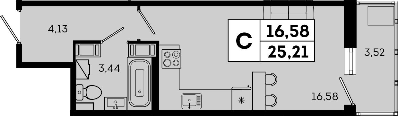 Студия, 25.21 м²– 2