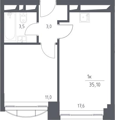 2Е-комнатная, 35.1 м²– 2