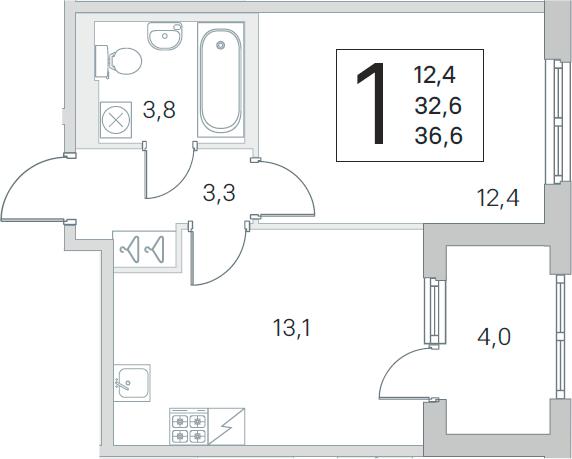 2Е-к.кв, 32.6 м², 2 этаж