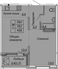 2Е-к.кв, 40.9 м², от 11 этажа