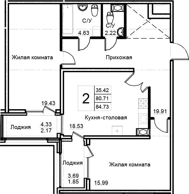 2-к.кв, 84.73 м²