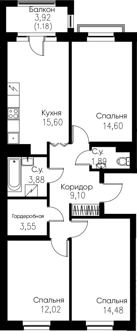 4Е-комнатная, 76.3 м²– 2