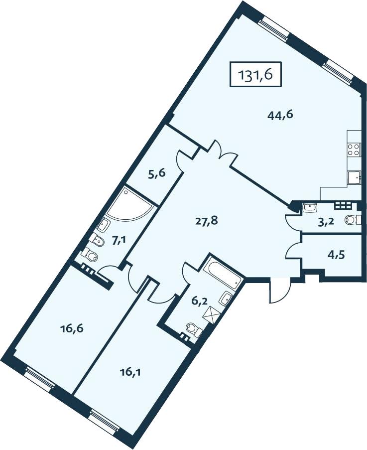 3Е-комнатная, 131.61 м²– 2