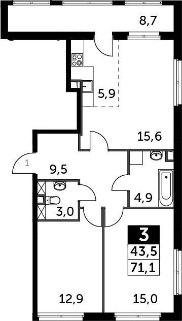 3-к.кв (евро), 76.3 м²