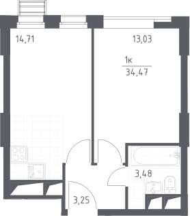 2Е-к.кв, 34.47 м², от 17 этажа