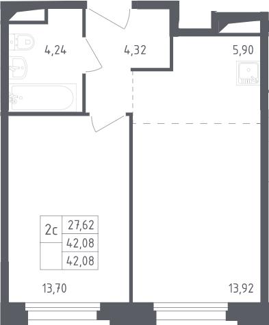 2Е-комнатная, 42.08 м²– 2