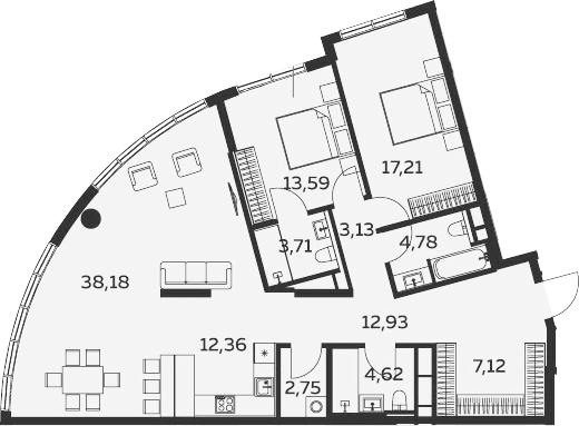 3Е-комнатная, 120.38 м²– 2