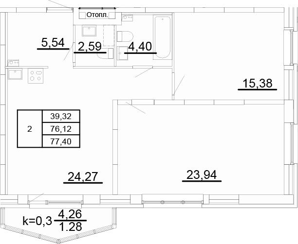 3-к.кв (евро), 80.39 м²