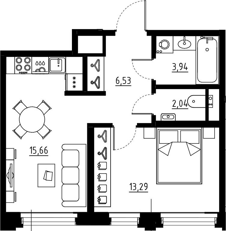 2Е-к.кв, 41.46 м², 3 этаж