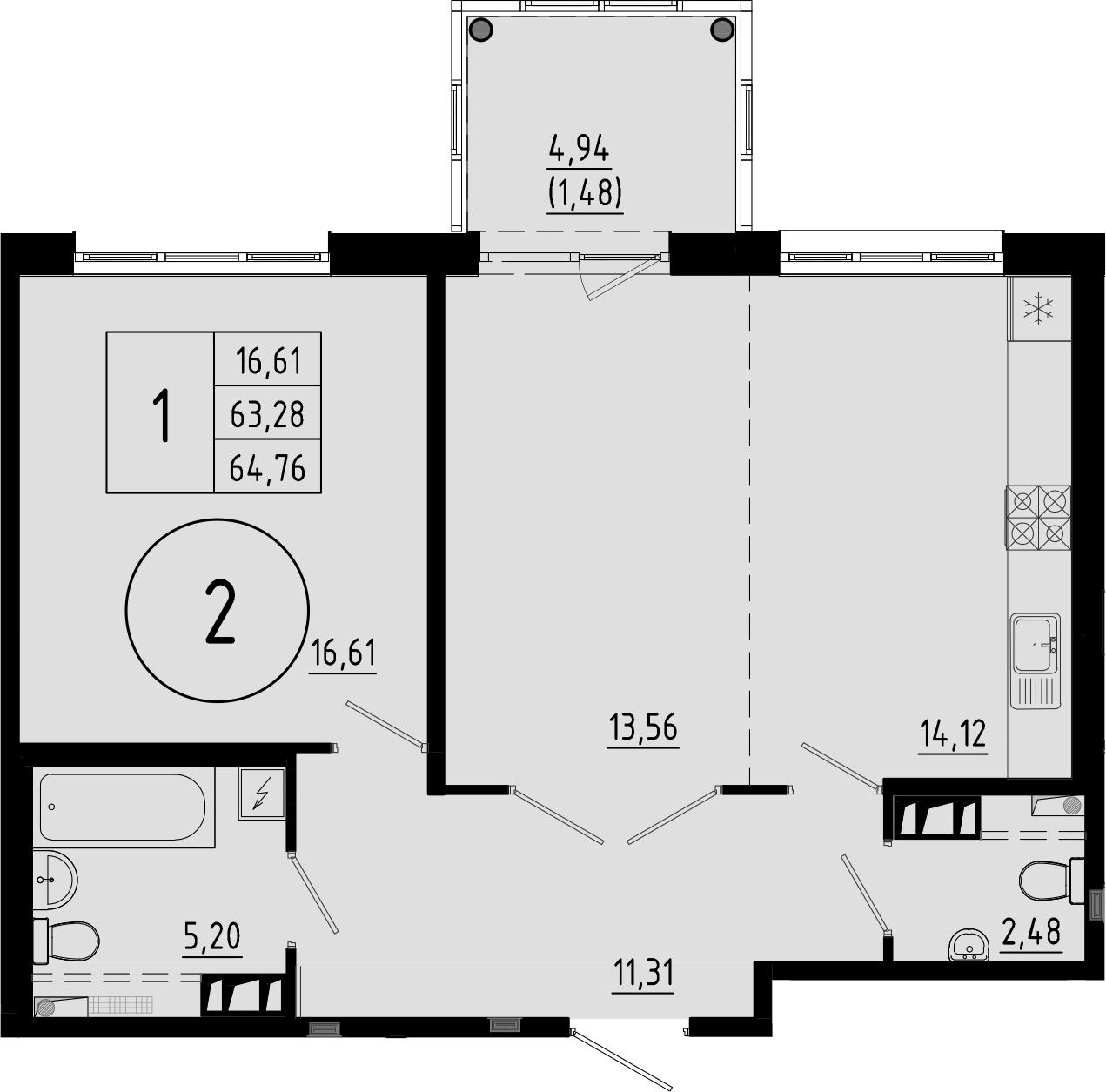 2-к.кв (евро), 68.22 м²
