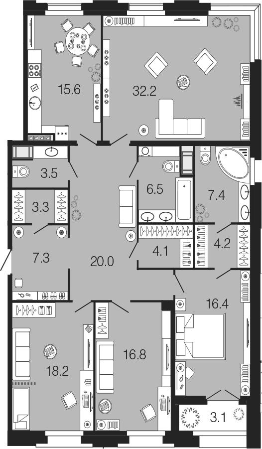 5Е-к.кв, 155.5 м²