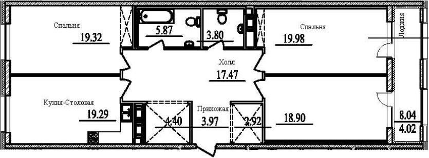 3-к.кв, 123.96 м²