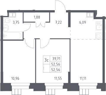 3Е-комнатная, 52.56 м²– 2