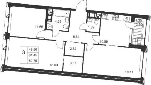3-комнатная, 82.75 м²– 2
