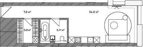 Студия, 43.5 м²– 2