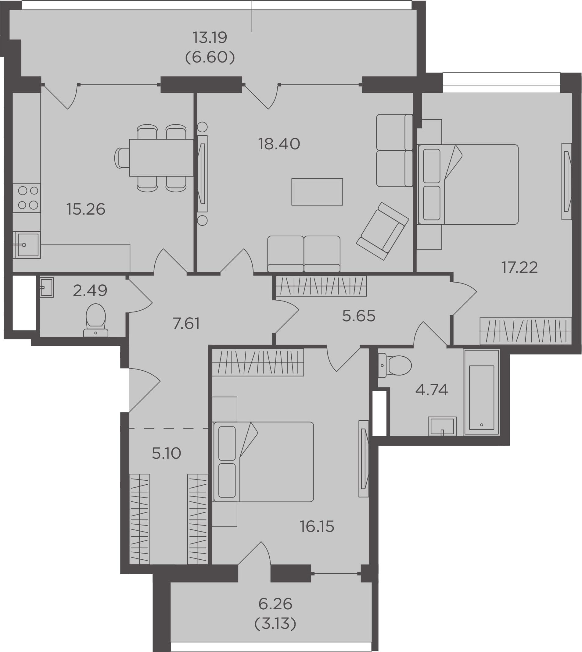 3-к.кв, 102.35 м², 2 этаж