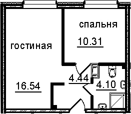 2Е-к.кв, 35.39 м², 4 этаж