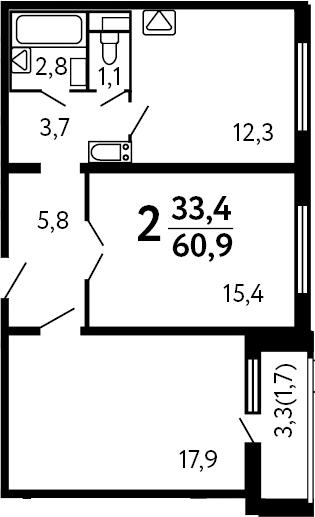 2-к.кв, 60.9 м²