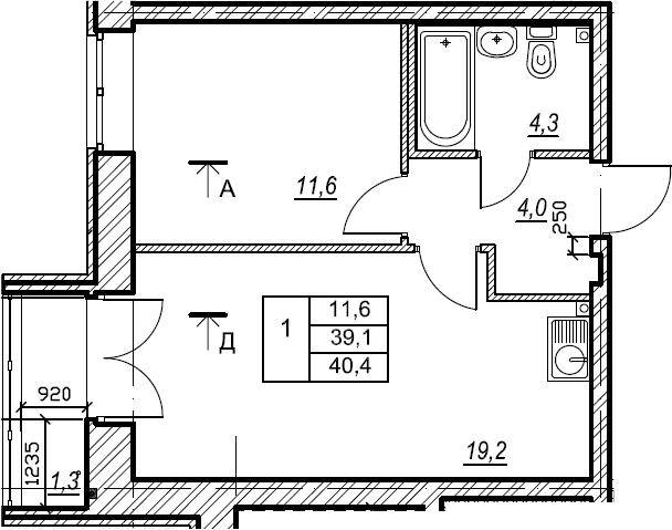 1-к.кв, 40.5 м², 2 этаж