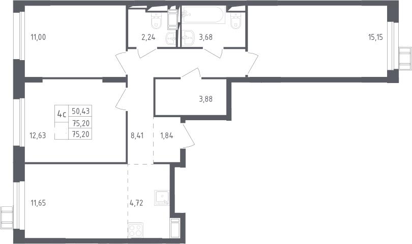 4Е-к.кв, 75.2 м², 11 этаж