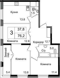 3-к.кв, 76.2 м², от 14 этажа