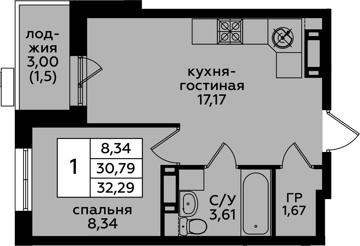 2Е-к.кв, 32.29 м²