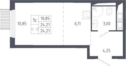 Студия, 24.21 м²– 2