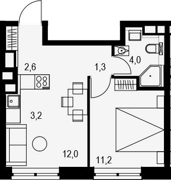 2Е-к.кв, 34.3 м², от 17 этажа