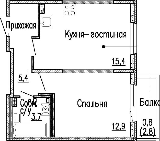 2Е-к.кв, 37.4 м², 1 этаж