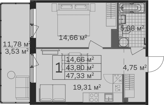 2Е-к.кв, 47.33 м², 6 этаж