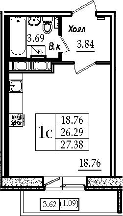 Студия, 29.92 м²