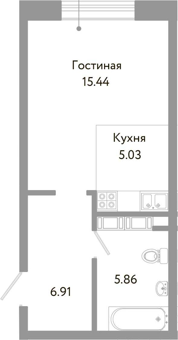 Студия, 33.24 м², 10 этаж – Планировка