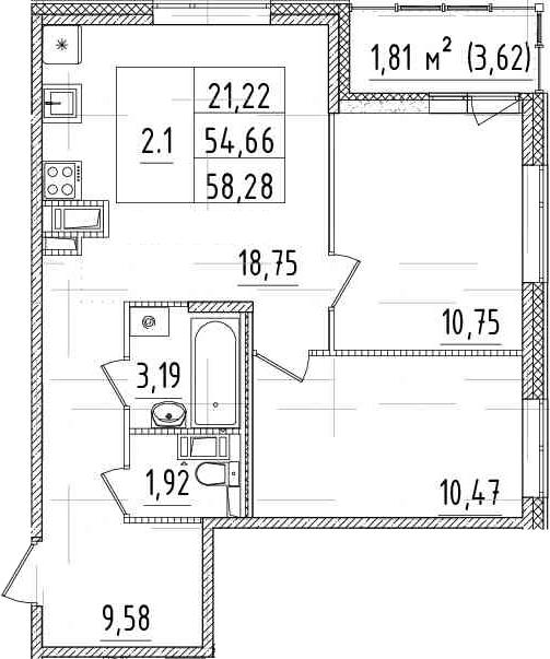 3Е-комнатная, 54.66 м²– 2