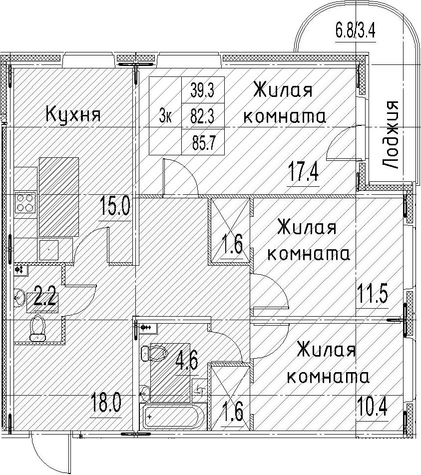 3-к.кв, 85.7 м²