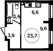 Студия, 23.7 м²