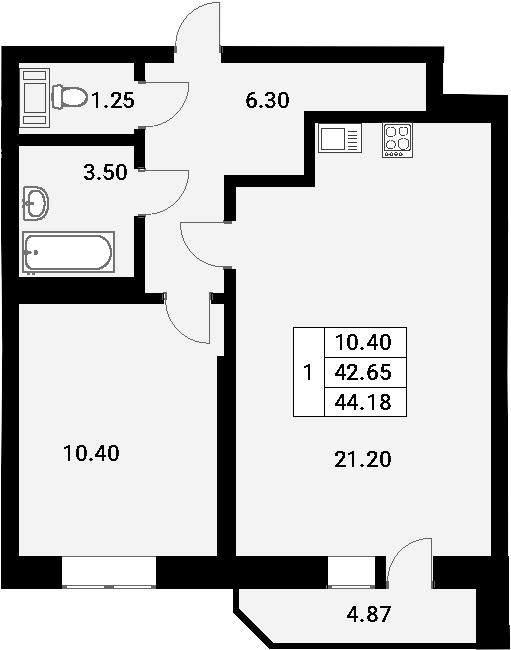 2-к.кв (евро), 45.71 м²