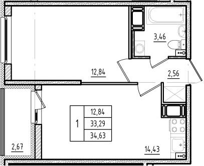 2Е-к.кв, 33.29 м², от 12 этажа