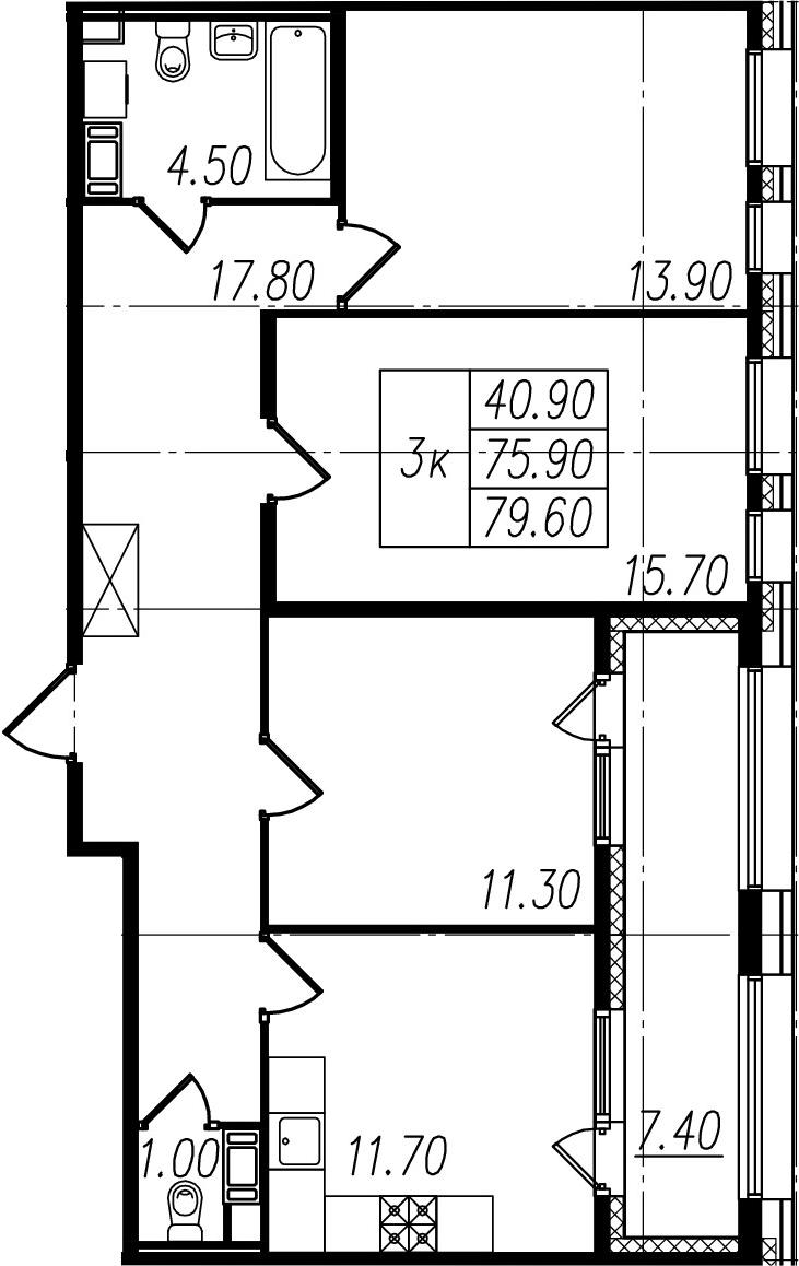 3-к.кв, 75.9 м², 10 этаж