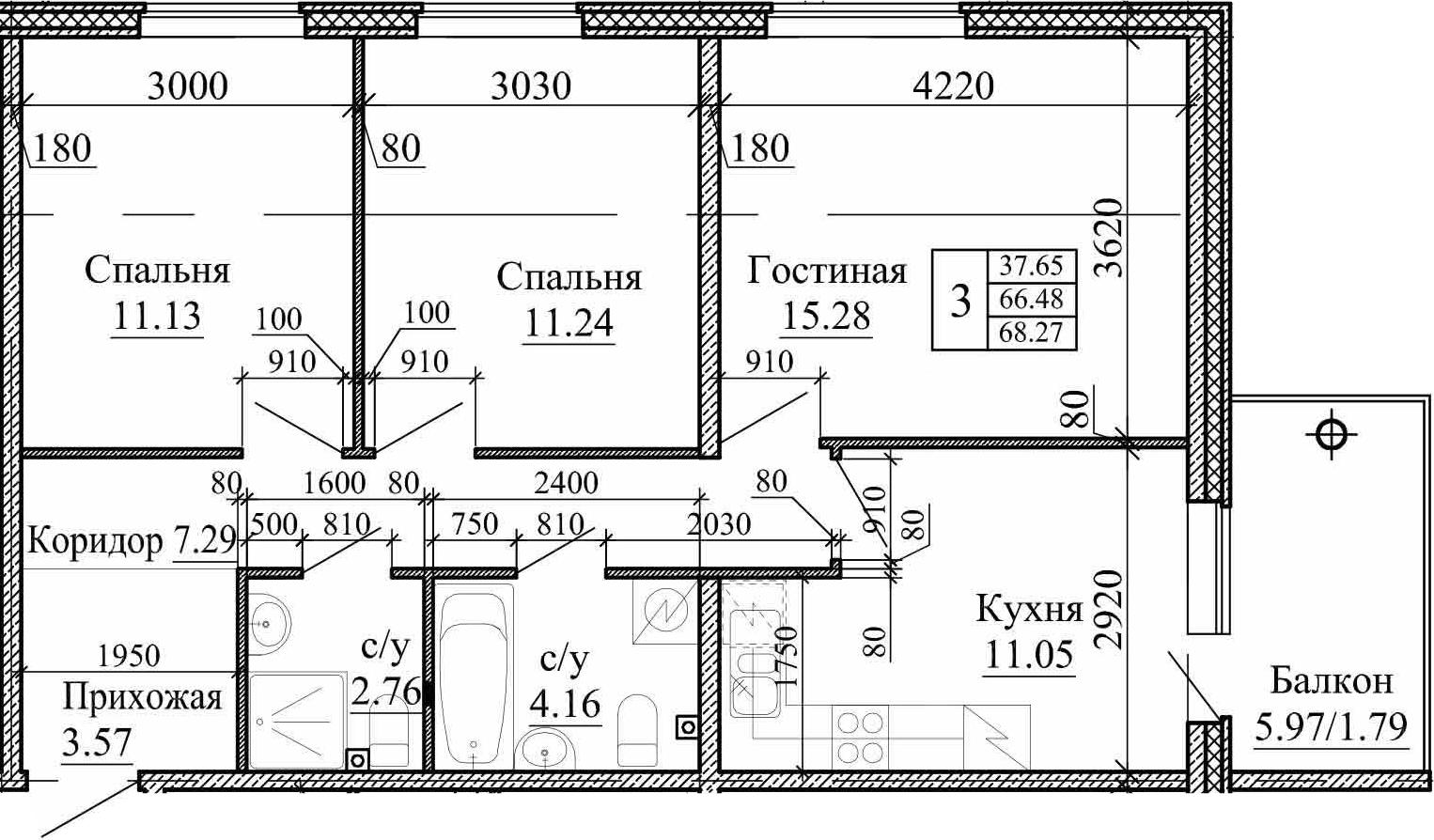 3-к.кв, 68.27 м²