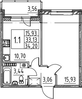 1-к.кв, 33.13 м², 4 этаж