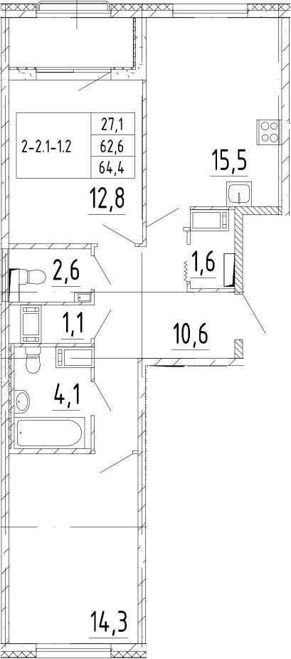 3Е-к.кв, 64.4 м²