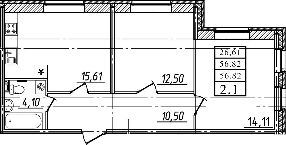 3-к.кв (евро), 56.82 м²