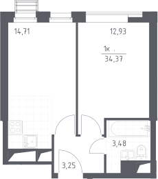 2Е-к.кв, 34.37 м², 3 этаж