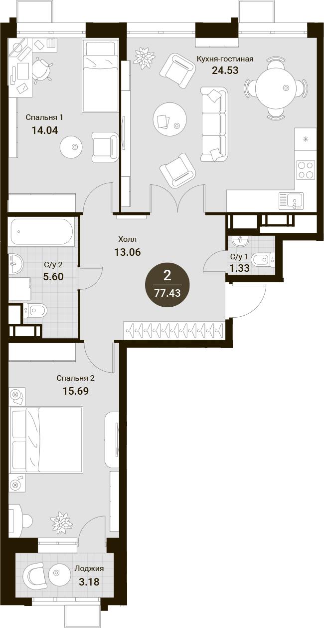 3Е-комнатная, 77.43 м²– 2
