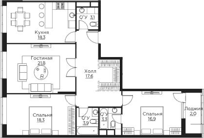 4Е-комнатная, 105.2 м²– 2