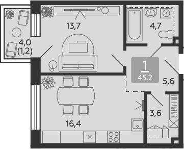 2Е-к.кв, 45.2 м²
