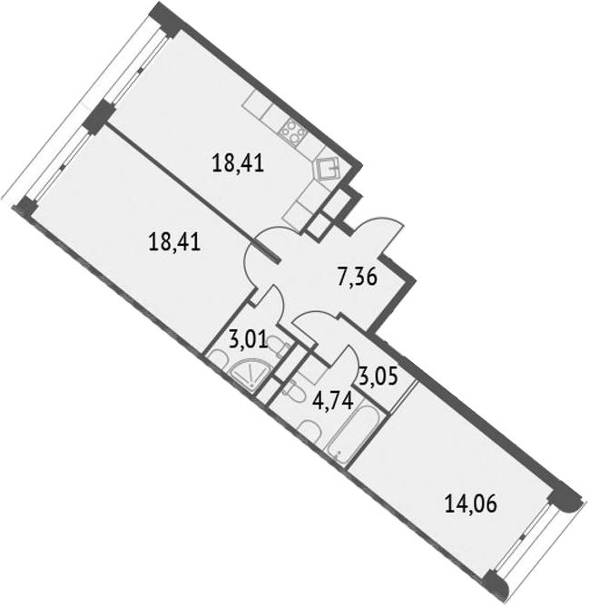 3-к.кв (евро), 69.04 м²
