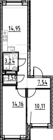 2-к.кв, 51.5 м², 1 этаж